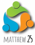 Matthew 25 logo; abstract people in circle
