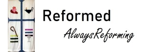 """Banner with symbols of Second Helvetic Confession and text """"Reformed always reforming"""""""