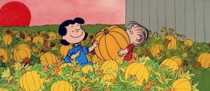 Linus and Lucy characters in pumpkin patch