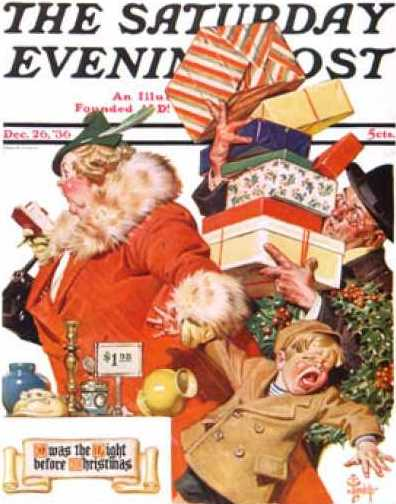 Saturday Evening Post cover showing stressed Christmas shoppers with crying child