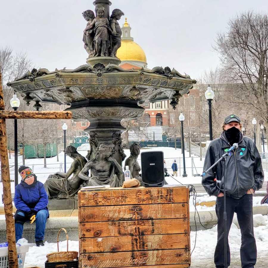 Outdoor worship service near fountain on Boston Common