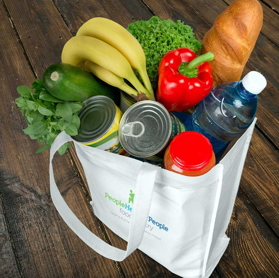 Grocery bag full of food