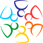 Inclusivity symbol with stylized people in a circle.