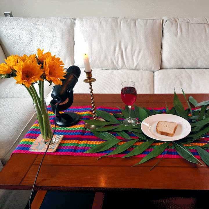 Coffee table set for home communion