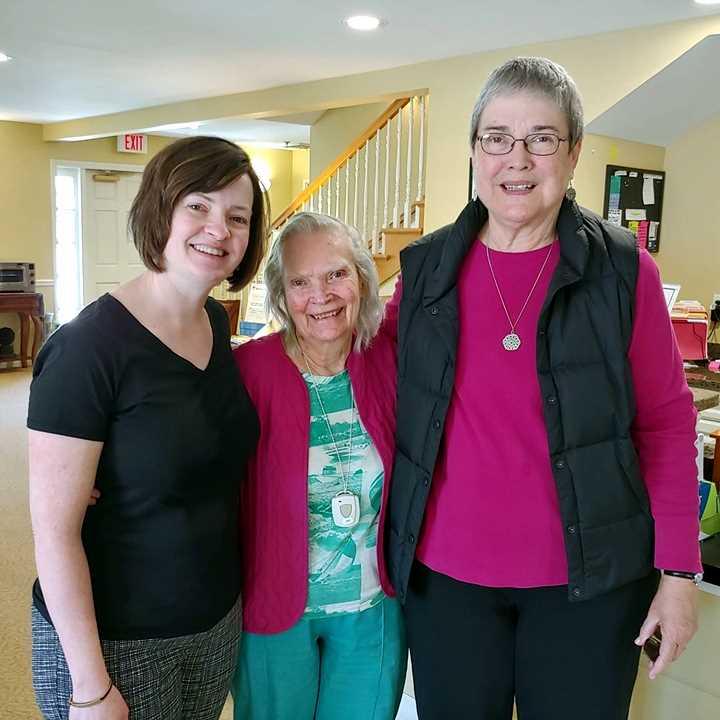 Women visiting in nursing home